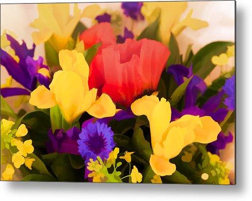 Flowers Metal Print featuring the digital art Spring Bouquet by Janet Fikar