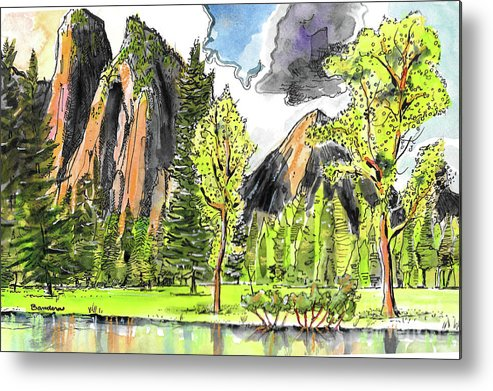 Yosemite Metal Print featuring the painting Spring In Yosemite by Terry Banderas
