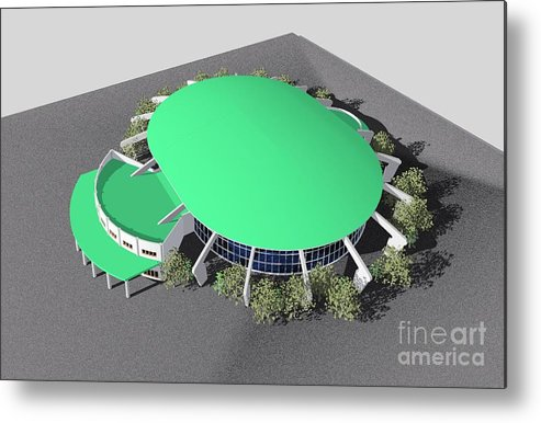 Building Rendering Metal Print featuring the digital art Stadium Model by Ron Bissett
