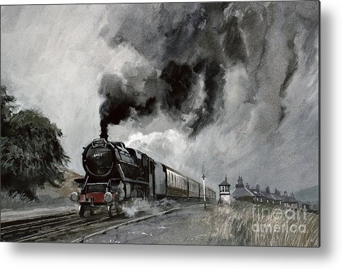 Signal; Station; Hut; Railway; Tracks; Smoke; Cloud; Clouds; Train; Landscape Metal Print featuring the painting Steam Train At Garsdale - Cumbria by John Cooke