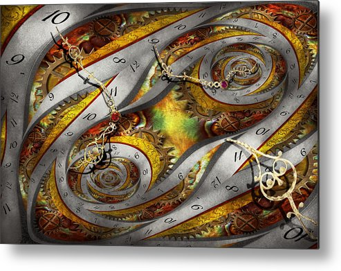 Steampunk Metal Print featuring the photograph Steampunk - Spiral - Space Time Continuum by Mike Savad