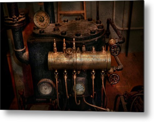 Steampunk Metal Print featuring the photograph Steampunk - Plumbing - The Valve Matrix by Mike Savad