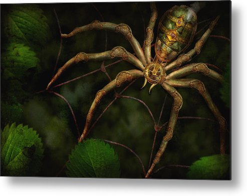 Steampunk Metal Print featuring the photograph Steampunk - Spider - Arachnia Automata by Mike Savad
