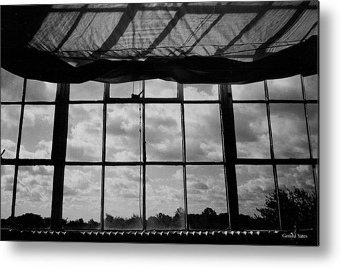 Black And White Metal Print featuring the photograph Steel Window by Gerard Yates