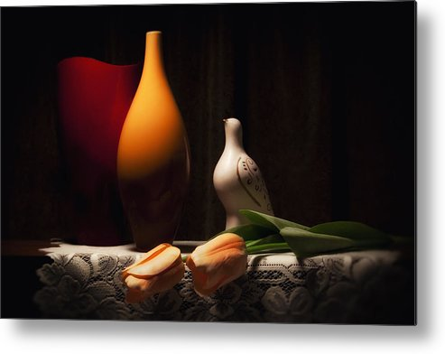 Vase Metal Print featuring the photograph Still Life With Vases And Tulips by Tom Mc Nemar