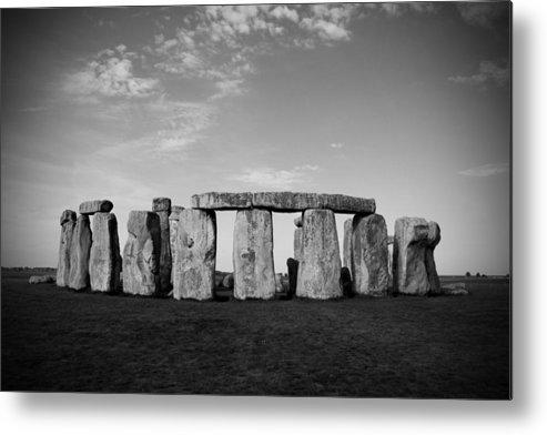Stonehenge On A Clear Blue Day Metal Print featuring the photograph Stonehenge On A Clear Blue Day Bw by Kamil Swiatek