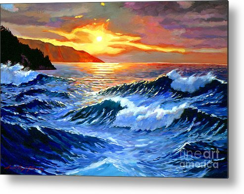 Waves Metal Print featuring the painting Storm Clouds - Catalina Island by David Lloyd Glover