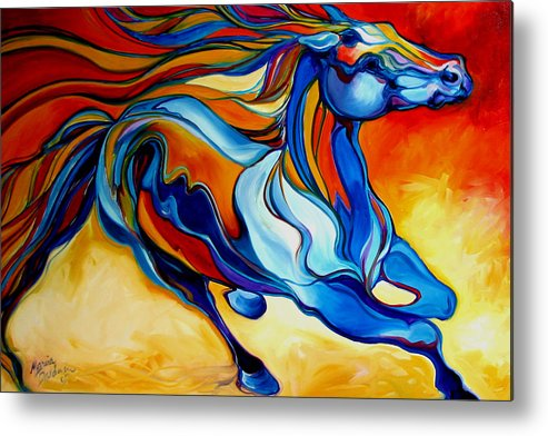 Horse Metal Print featuring the painting Stormy An Equine Abstract Southwest by Marcia Baldwin