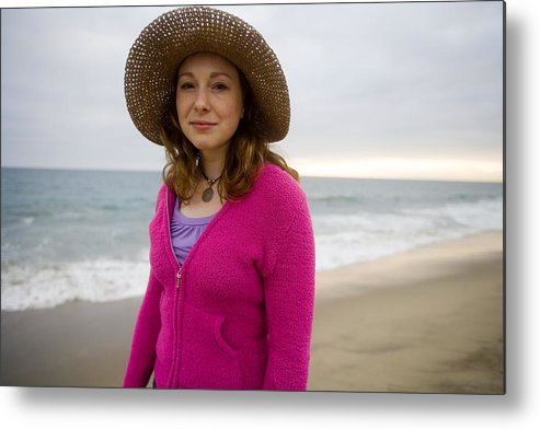 Girl Metal Print featuring the photograph Straw Hat At The Beach by Brad Rickerby