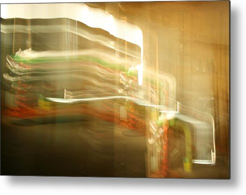 Abstract Metal Print featuring the photograph Streak Door Lights by Joshua Sunday