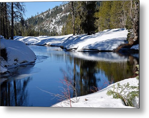 Snow Metal Print featuring the photograph Stream 1 by Michael Brown
