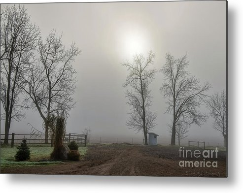 Amish Phone Shack Metal Print featuring the photograph Sun Filtered Through Fog by David Arment