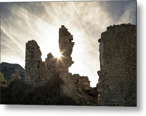 Ancient Metal Print featuring the photograph Sun Shining Through A Derelict Building At Occi In Corsica by Jon Ingall
