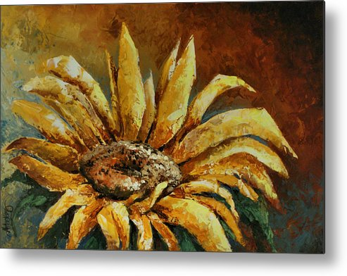 Floral Metal Print featuring the painting Sunflower Study by Michael Lang