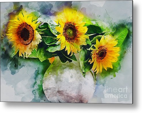 Nature Metal Print featuring the photograph Sunflower Trio by Ian Mitchell