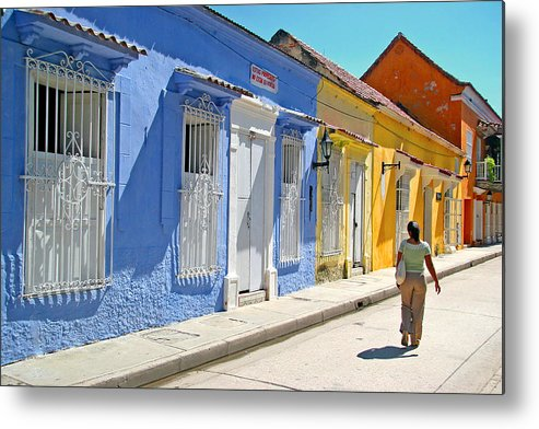 Caribbean Metal Print featuring the photograph Sunny Street With Colored Houses - Cartagena-colombia by Riccardo Forte