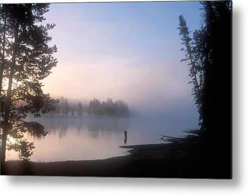 Wyoming Metal Print featuring the photograph Sunrise Fishing In The Yellowstone River by Michael S. Lewis