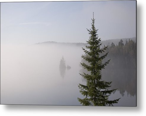 Quebec Metal Print featuring the photograph Sunrise Mist Lingers On The Lake by Taylor S. Kennedy