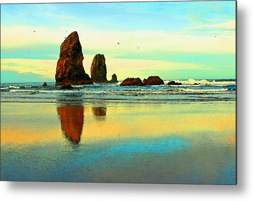Cannon Beach Metal Print featuring the photograph Sunrise The Needles At Cannon Beach by Margaret Hood