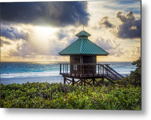 Clouds Metal Print featuring the photograph Sunrise Tower At The Beach by Debra and Dave Vanderlaan