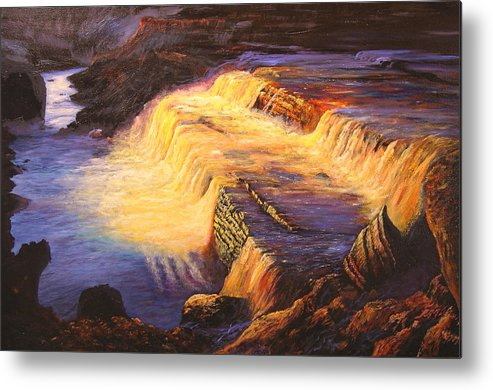 Connie Tom Metal Print featuring the painting Sunset At Grand Falls by Connie Tom