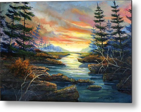 Landscape Metal Print featuring the painting Sunset Creek by Brooke Lyman