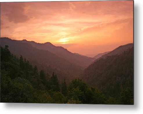 Landscape Metal Print featuring the photograph Sunset In The Smokies. by Itai Minovitz