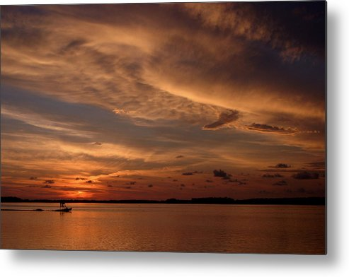Fishing Boat Metal Print featuring the photograph Sunset by Joseph G Holland