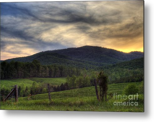 Landscape Metal Print featuring the photograph Sunset On Appleberry Mountain 2 by Pete Hellmann