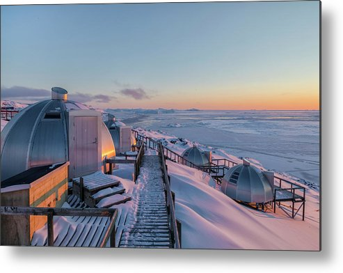 Ilulissat Metal Print featuring the photograph sunset over Igloos - Greenland by Joana Kruse
