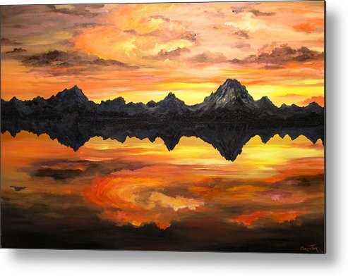 Connie Tom Metal Print featuring the painting Sunset Over Jackson Lake And The Grand Tetons by Connie Tom