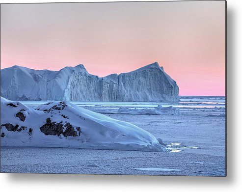 Ilulissat Metal Print featuring the photograph sunset over the Icefjord - Greenland by Joana Kruse