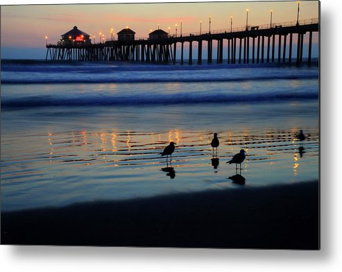 Huntington Metal Print featuring the photograph Sunset Pier by Pierre Leclerc Photography