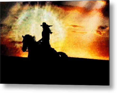 Horse Metal Print featuring the photograph Sunset Rider by Nick Sokoloff