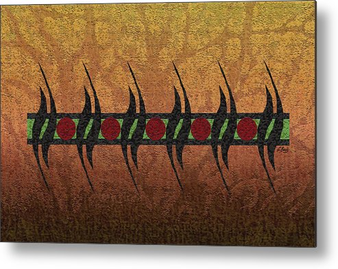 Contemporary African Abstract Gold Red Green Black Gordon Beck Art Metal Print featuring the painting Sunspots by Gordon Beck