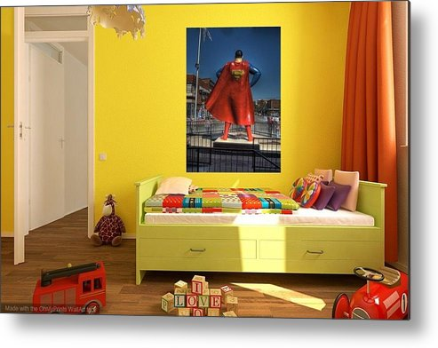 Superman Metal Print Featuring The Photograph Child Home Decor By Jane Linders