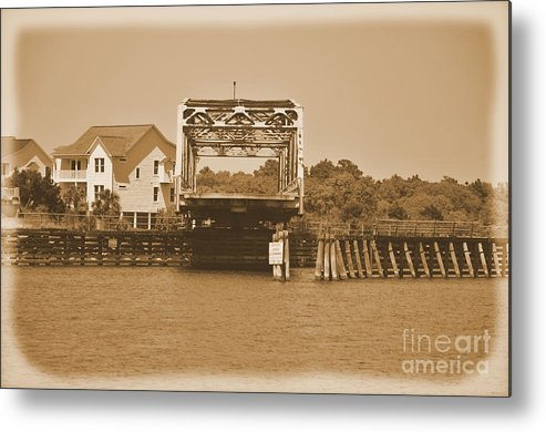 Sepia Metal Print featuring the photograph Surf City Vintage Swing Bridge In Sepia 1 by Bob Sample