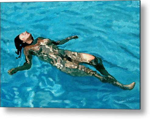 Nude Metal Print featuring the painting Surface Figure - Surrender by Allan OMarra