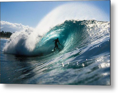 Adrenaline Metal Print featuring the photograph Surfer At Pipeline by Vince Cavataio - Printscapes