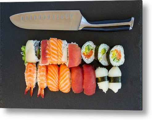 Sushi Metal Print featuring the photograph Sushi And Knife by Anastasy Yarmolovich