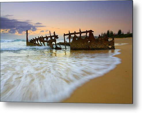 Shipwreck Metal Print featuring the photograph Swallowed By The Tides by Mike Dawson