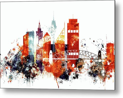Sydney Metal Print featuring the painting Sydney Cityscape by Dim Dom