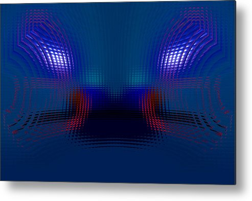 Blue Metal Print featuring the digital art Tail Lights In The Rain by Donna Blackhall