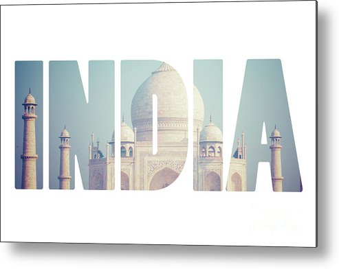 Taj Metal Print featuring the photograph Taj Mahal , A Famous Historical Monument, A Monument Of Love, The Greatest White Marble Tomb In India, Agra, Uttar Pradesh by Mariusz Prusaczyk
