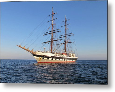 Tall Ship Metal Print featuring the photograph Tall Ship Anchored Off Penzance by Tom Wade-West