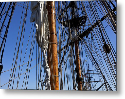 Blue Sky Metal Print featuring the photograph Tall Ship Rigging Lady Washington by Garry Gay