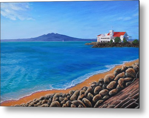 Tamaki Drive Metal Print featuring the painting Tamaki Yacht Club by Lyn Simpson