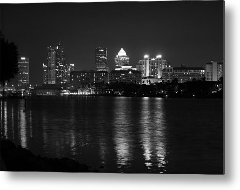 Tampa Metal Print featuring the photograph Tampa Skyline South Black And White by Larry Underwood