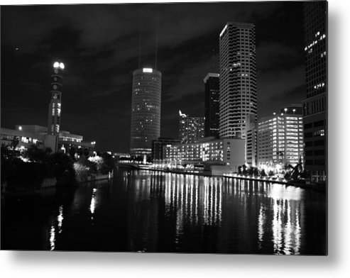 Tampa Metal Print featuring the photograph Tampa Skyline West Night Black And White by Larry Underwood