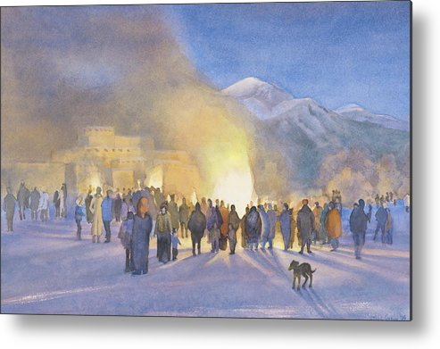 Taos Pueblo Metal Print featuring the painting Taos Pueblo On Christmas Eve by Jane Grover